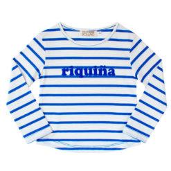 Camiseta Riquiña terciopelo azul niña