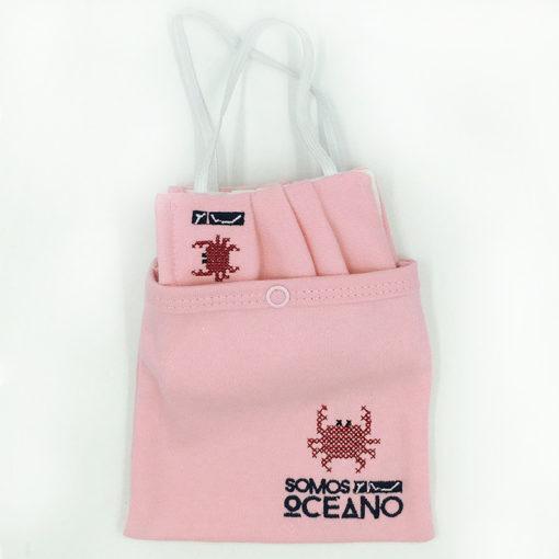 Mascarilla y bolsa para guardar rosa adulto